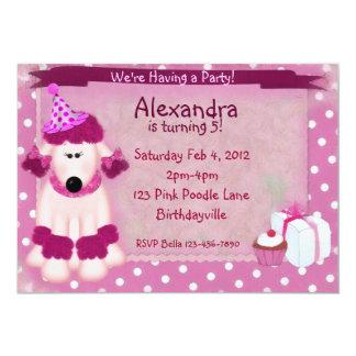Pink Poodle Party 13 Cm X 18 Cm Invitation Card