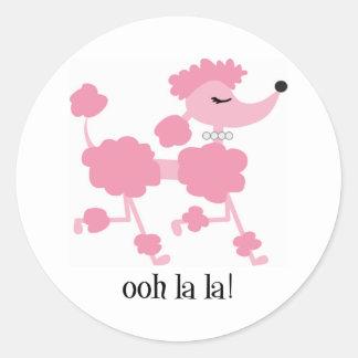 pink poodle round sticker