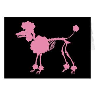 Pink Poodle Skeleton Card