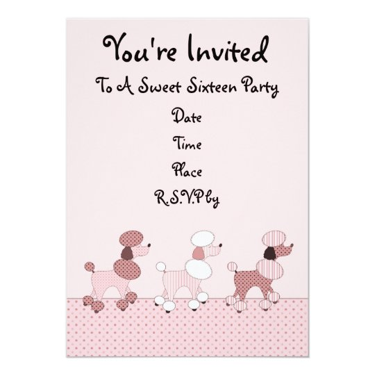 Pink Poodles On Parade Invitation
