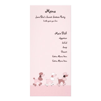 Pink Poodles On Parade Menu Card Rack Card Design