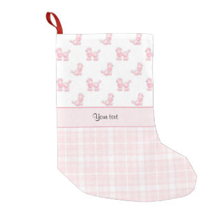 Pink Poodles & Pink Checks Small Christmas Stocking