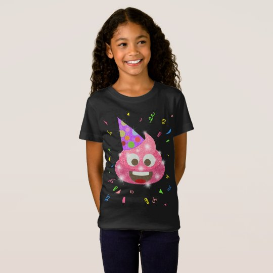 Pink Poop Funny Kids Emoji Birthday Party T-Shirt