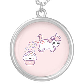 Pink Pooping Unicorn Silver Plated Necklace