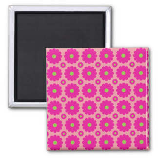 Pink popart flowers magnet