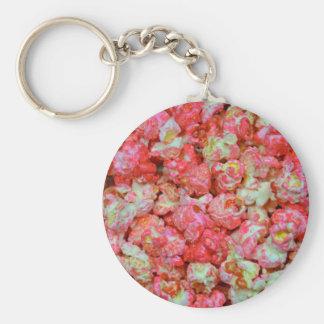 Pink popcorn basic round button key ring