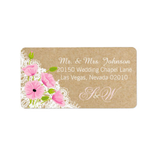 Pink Poppies and Lace Rustic Wedding Label Address Label
