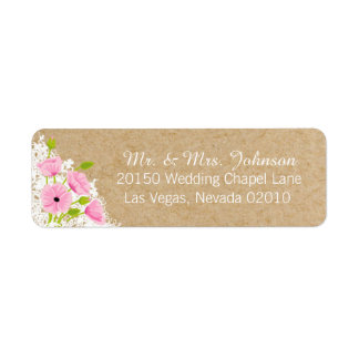 Pink Poppies and Lace Rustic Wedding Label Return Address Label