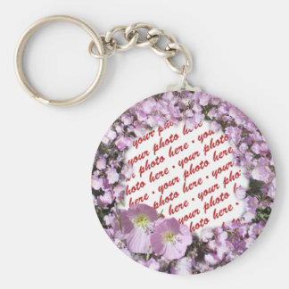 Pink Poppies Photo Frame Basic Round Button Key Ring