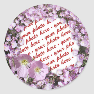 Pink Poppies Photo Frame Round Sticker