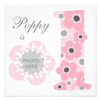Pink poppy age one girl invitation photo upload