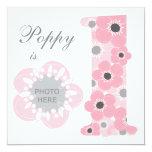 Pink poppy age one girl invitation photo upload