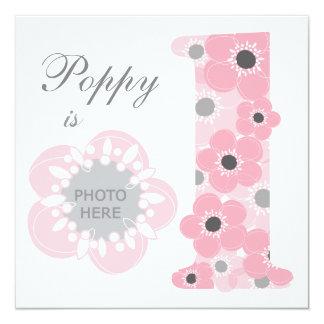Pink poppy age one girl invitation photo upload 13 cm x 13 cm square invitation card