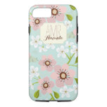 Pink Poppy Garden Floral Personalised Monogram iPhone 7 Case
