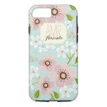Pink Poppy Garden Floral Personalised Monogram iPhone 7 Case