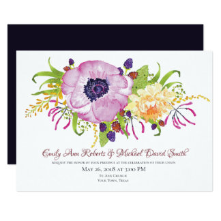 Pink Poppy Garden Wedding Invitation