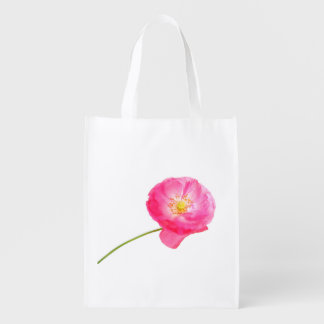 pink poppy with stem reusable grocery bag