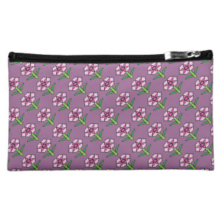 Pink Posey on Purple Cosmetic Bags