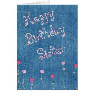 Pink Posies on Denim Sister Birthday Card