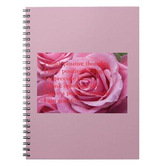 Pink Positive Affirmations Spiral Notebook