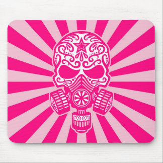 Pink Post Apocalyptic Sugar Skull Mouse Pad