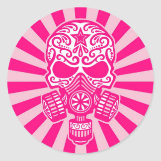 Pink Post Apocalyptic Sugar Skull Round Sticker
