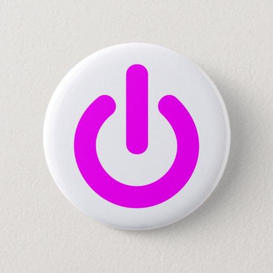 Pink Power On Switch 6 Cm Round Badge