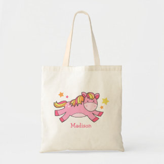 Pink Prancing Pony Personalized Budget Tote Bag
