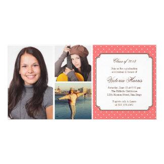 Pink preppy polka dot graduation announcement photo card template
