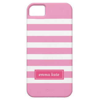 Pink Preppy Stripes Monogram iPhone 5 Cover
