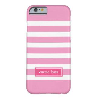 Pink Preppy Stripes Monogram iPhone 6 Case