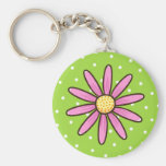 Pink pretty flower on green polka dot background basic round button key ring