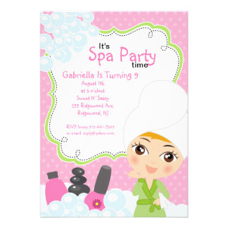 Pink Pretty Girl Spa Birthday Party Invite