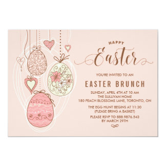 Pink Pretty Ornaments | Easter Brunch and Egg Hunt Card