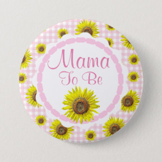 Pink Pretty Sunflowers Mama to be Baby Shower 7.5 Cm Round Badge
