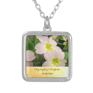 Pink Primrose Wedding Silver Plated Necklace