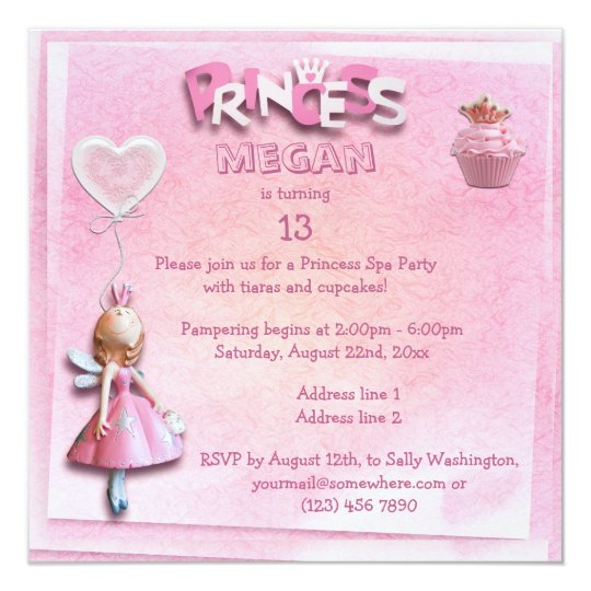Pink Princess 13th Birthday Spa Party Double Sided