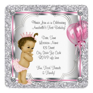 "Pink Princess 1st Birthday Party 5.25"" Square Invitation Card"