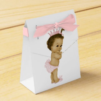 Pink Princess African American Baby Girl Shower Party Favour Boxes