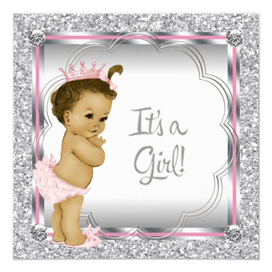 Pink Princess African American Baby Shower Card
