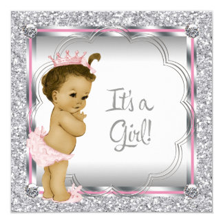 Pink Princess African American Baby Shower Custom Announcement