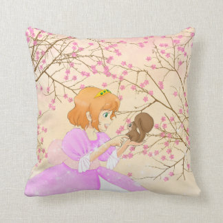 Pink Princess and squirrel with blossom pillow Throw Cushions