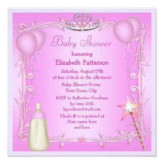 Pink Princess Baby Bottle & Balloons Baby Shower Personalized Invitation