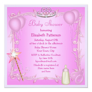 Pink Princess Baby Dummy & Bottle Baby Shower 13 Cm X 13 Cm Square Invitation Card