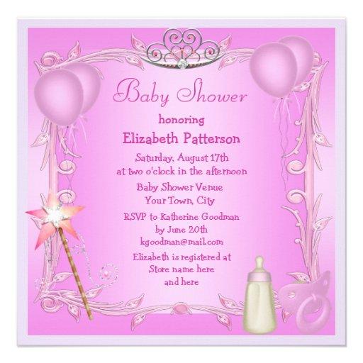 Pink Princess Baby Dummy & Bottle Baby Shower Custom Invitation
