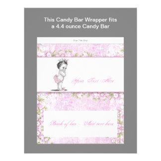 Pink Princess Baby Shower Candy Bar Wrapper 21.5 Cm X 28 Cm Flyer
