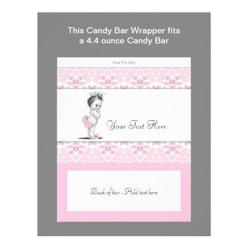Pink Princess Baby Shower Candy Bar Wrapper Custom Flyer