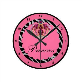 Pink Princess Bling Crown & Zebra Print Clock