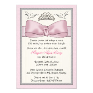 Pink Princess Bowed Invite