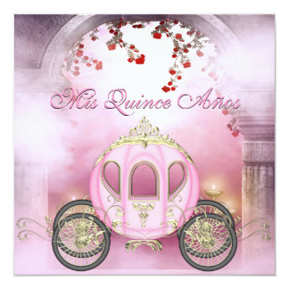 Pink Princess Carriage Enchanted Quinceanera 13 Cm X 13 Cm Square Invitation Card